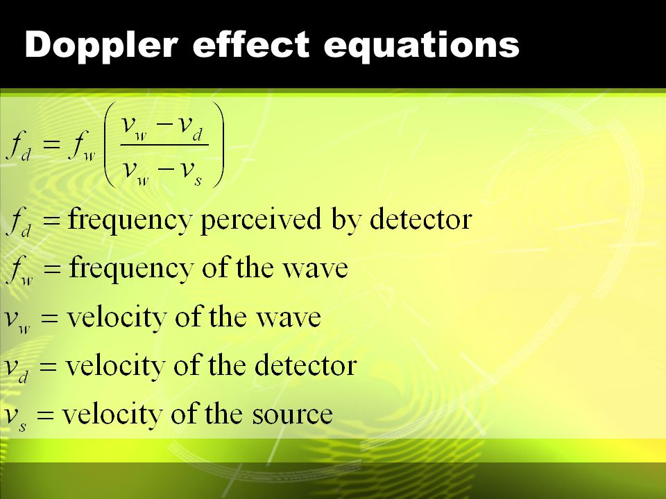 Doppler effect equations