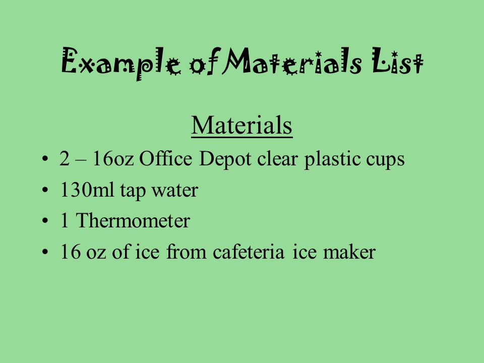 Example of Materials List
