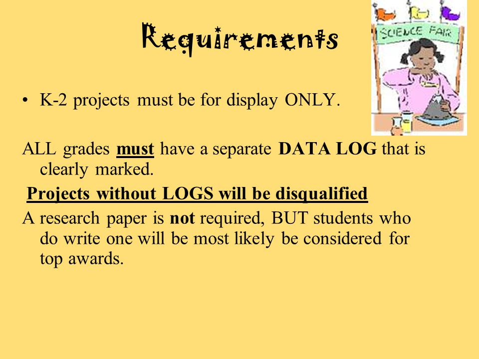 Requirements K-2 projects must be for display ONLY.