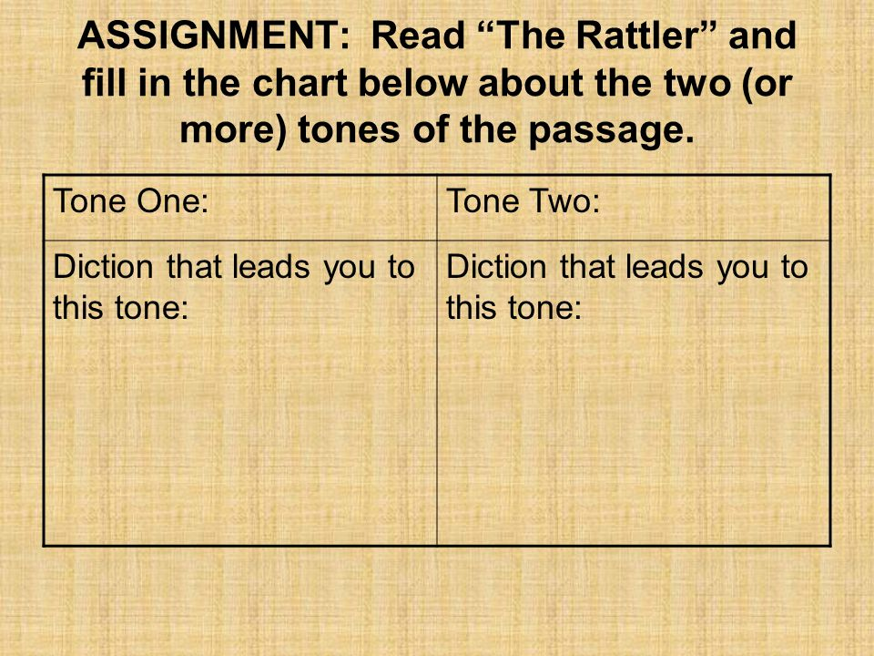 ASSIGNMENT: Read The Rattler and fill in the chart below about the two (or more) tones of the passage.