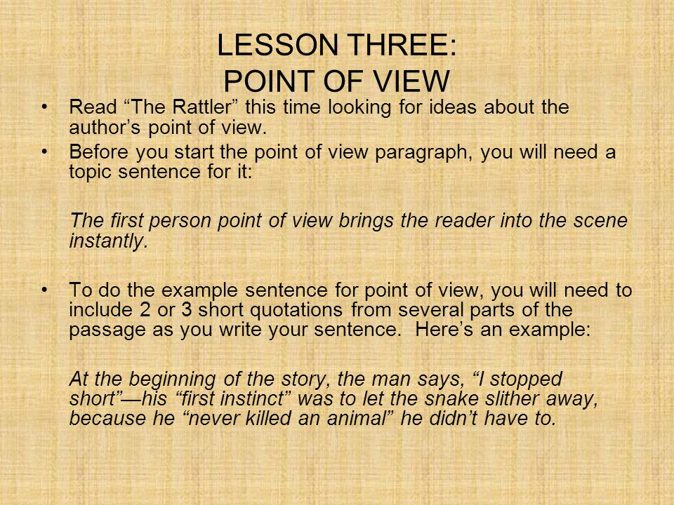 LESSON THREE: POINT OF VIEW