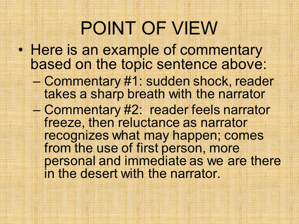 POINT OF VIEW Here is an example of commentary based on the topic sentence above:
