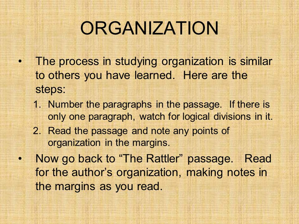 ORGANIZATION The process in studying organization is similar to others you have learned. Here are the steps:
