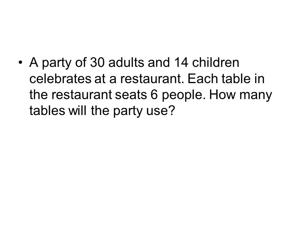 A party of 30 adults and 14 children celebrates at a restaurant