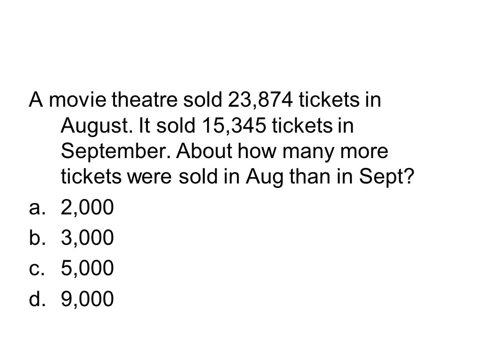 A movie theatre sold 23,874 tickets in August
