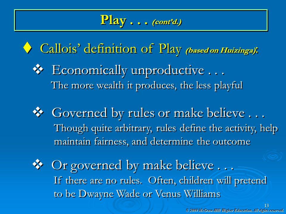 Callois' definition of Play (based on Huizinga):