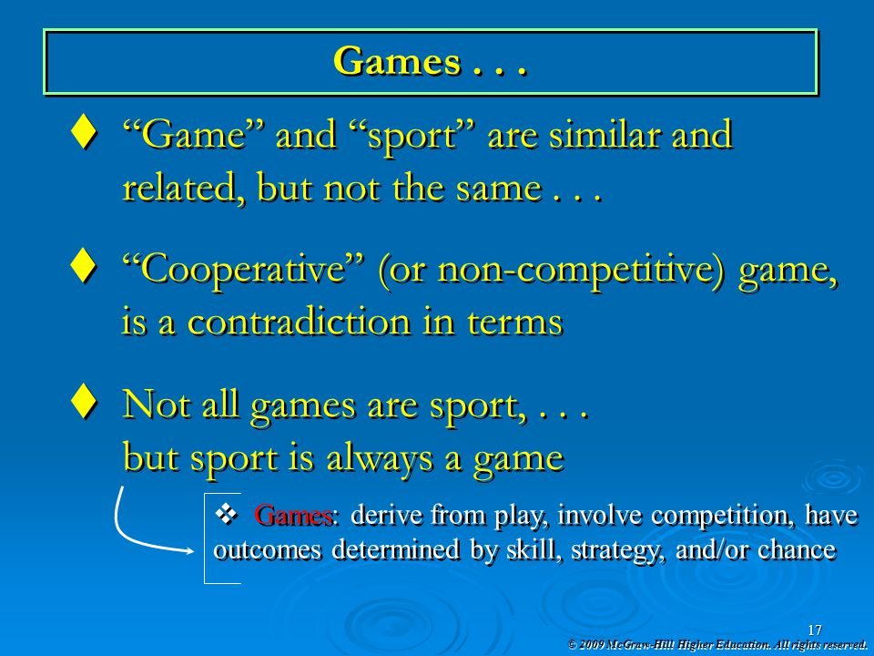 Game and sport are similar and related, but not the same . . .