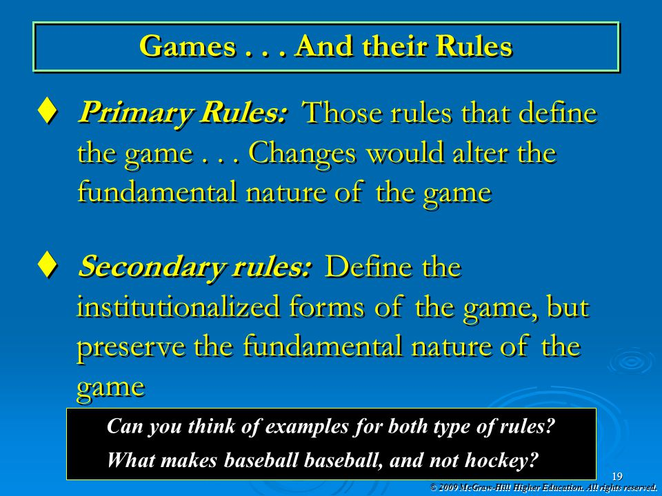Primary Rules: Those rules that define