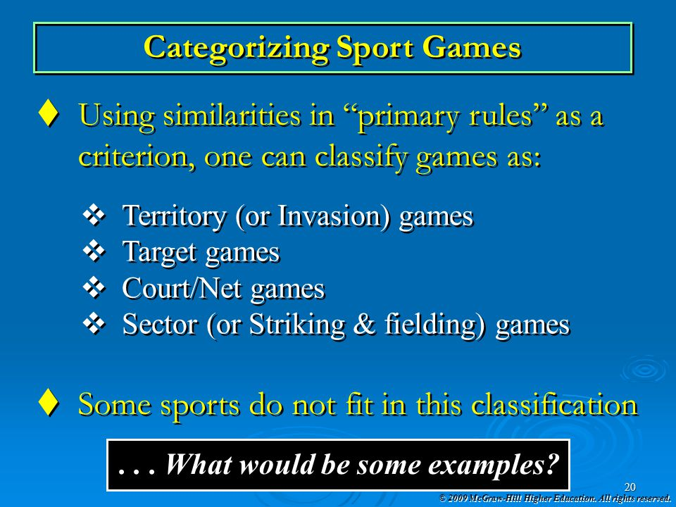 Categorizing Sport Games