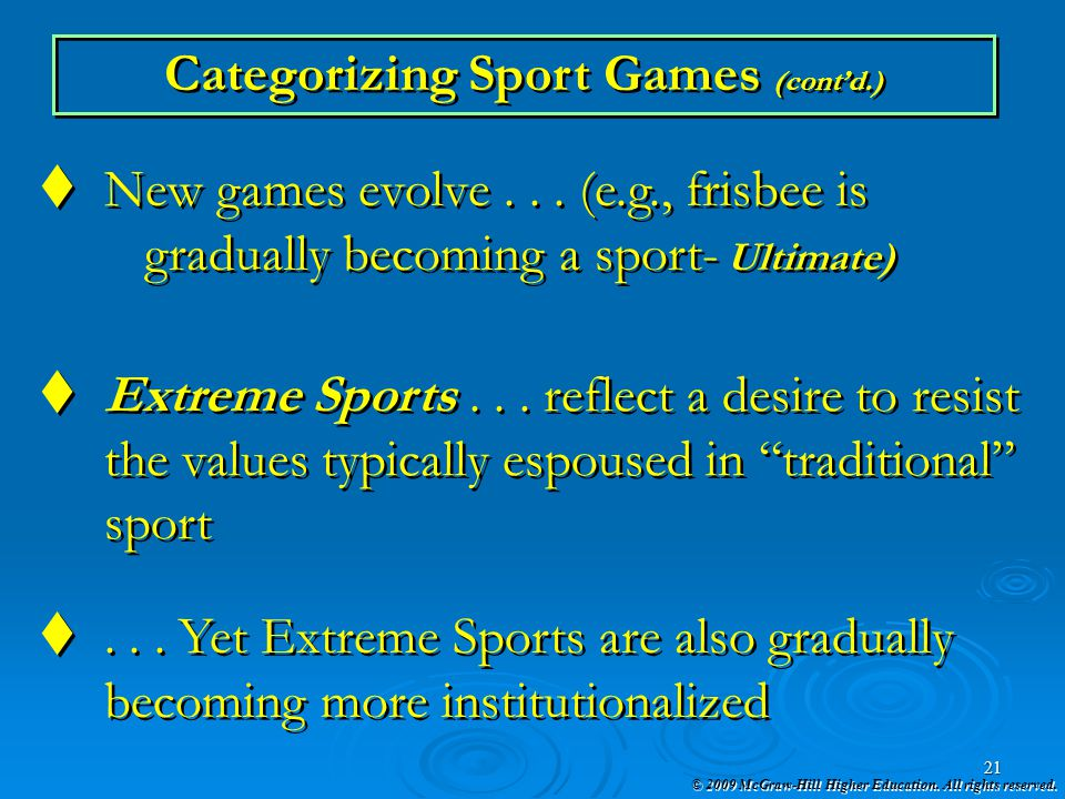 Categorizing Sport Games (cont'd.)