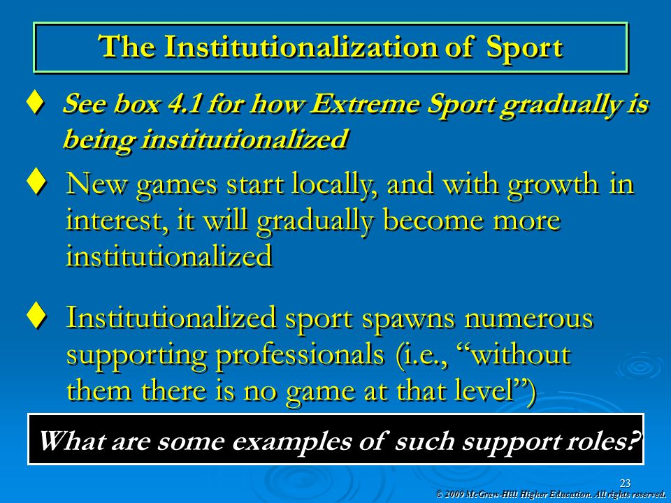 The Institutionalization of Sport