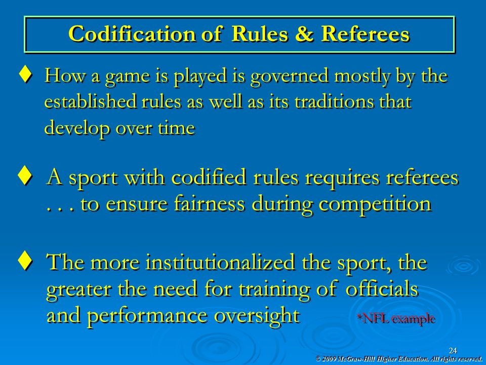 Codification of Rules & Referees