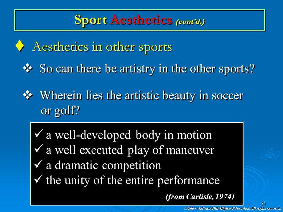 Sport Aesthetics (cont'd.)