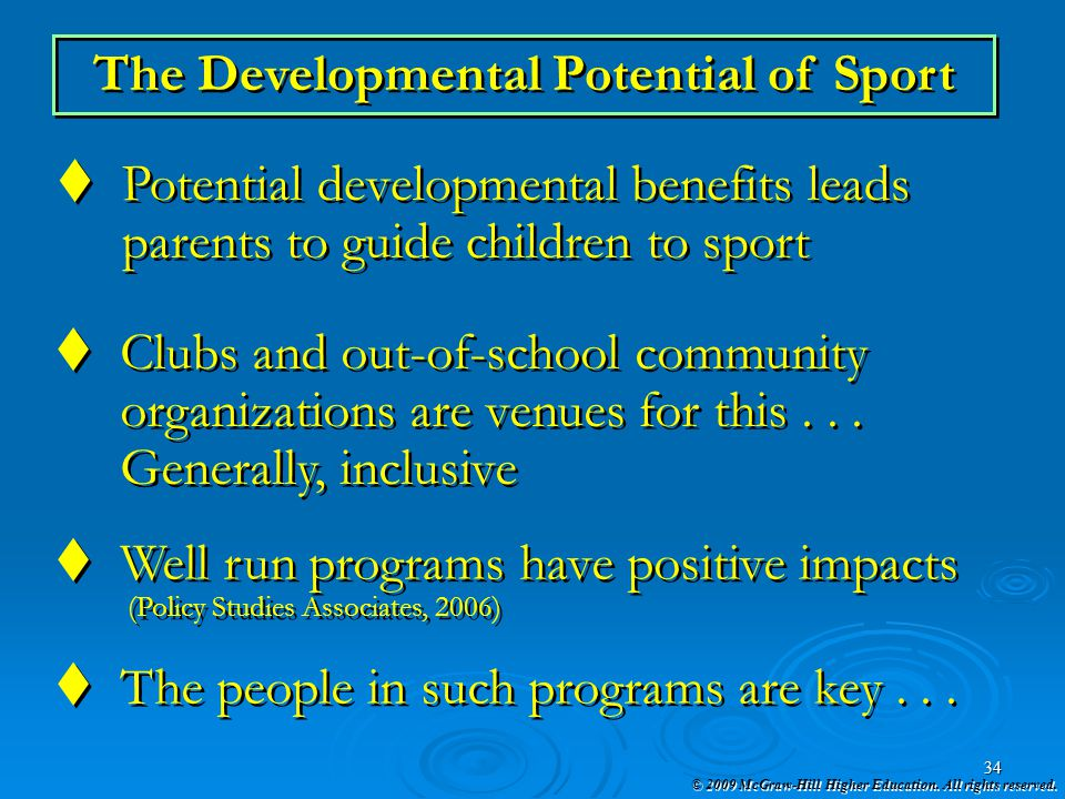 The Developmental Potential of Sport