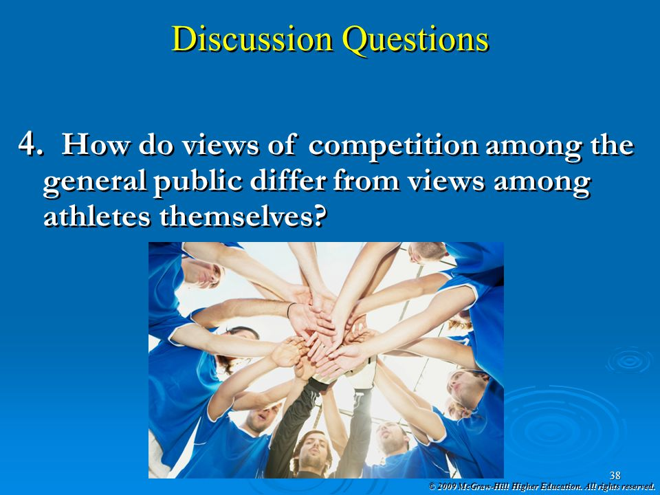 Discussion Questions How do views of competition among the general public differ from views among athletes themselves