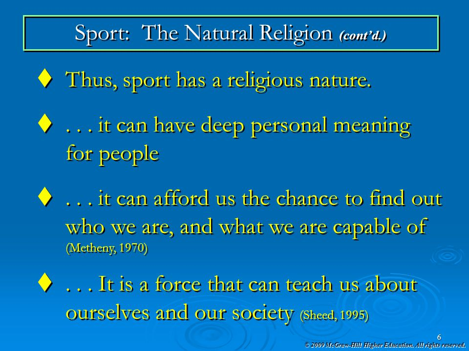 Sport: The Natural Religion (cont'd.)