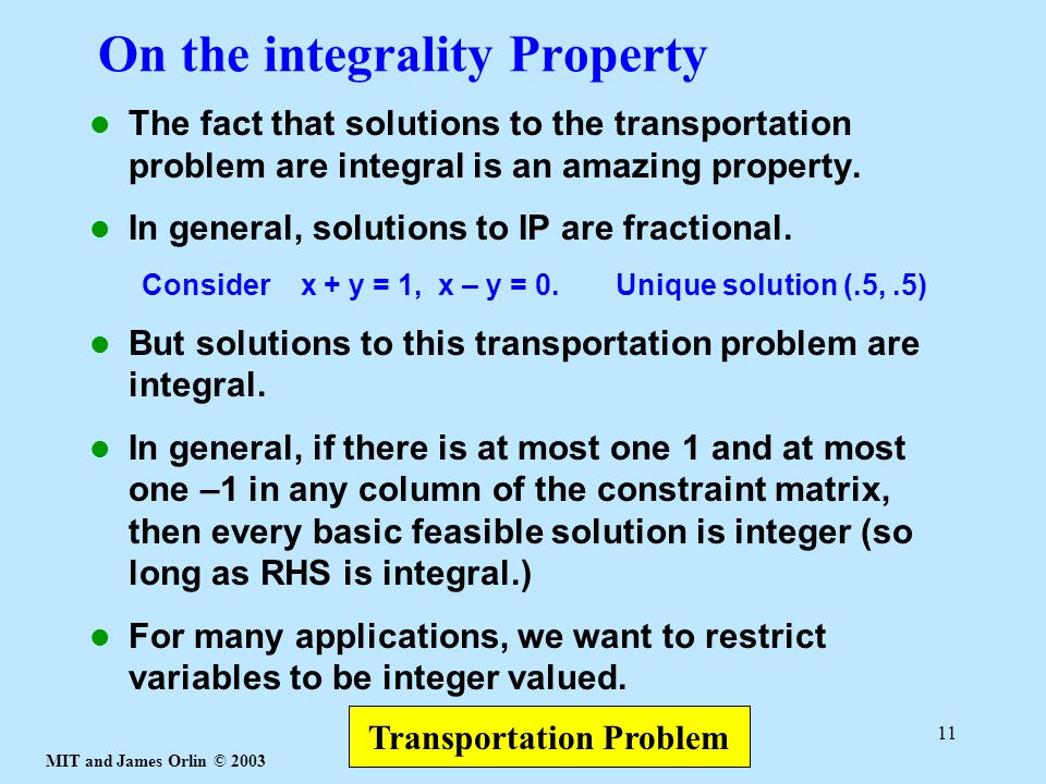 On the integrality Property