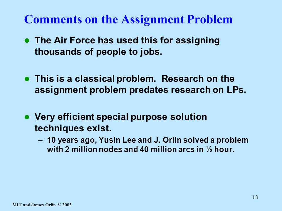 Comments on the Assignment Problem
