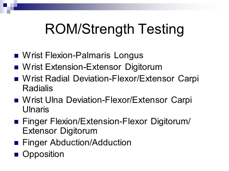 ROM/Strength Testing Wrist Flexion-Palmaris Longus