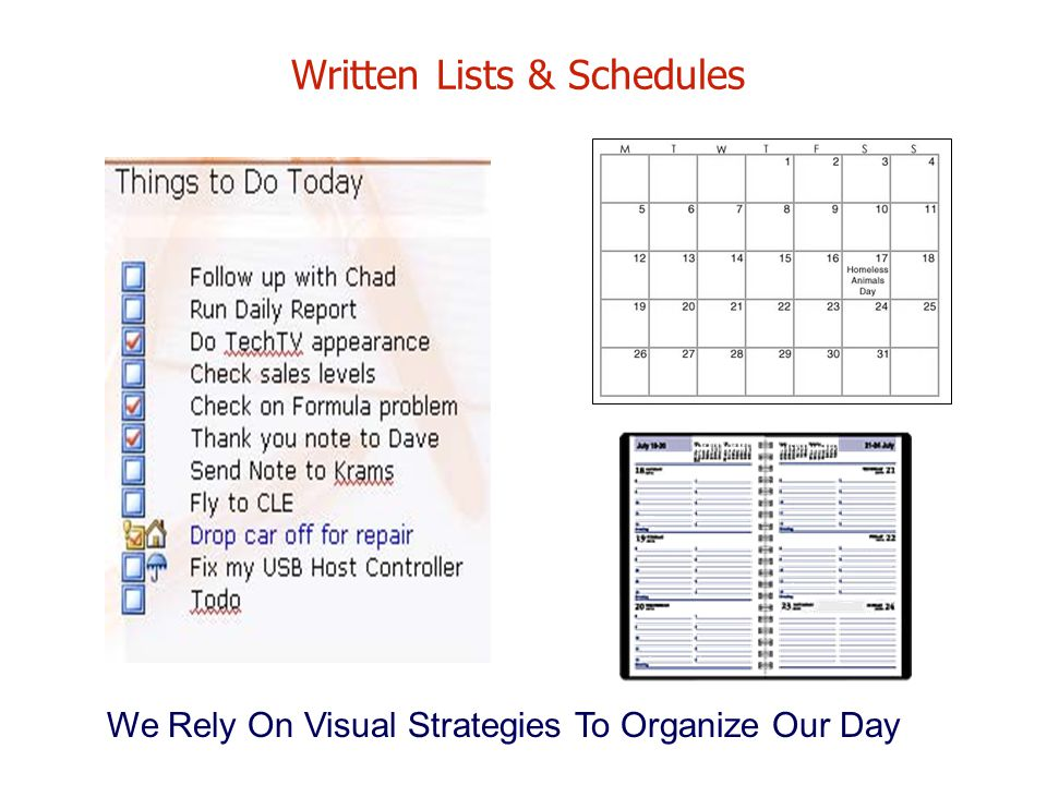 Written Lists & Schedules
