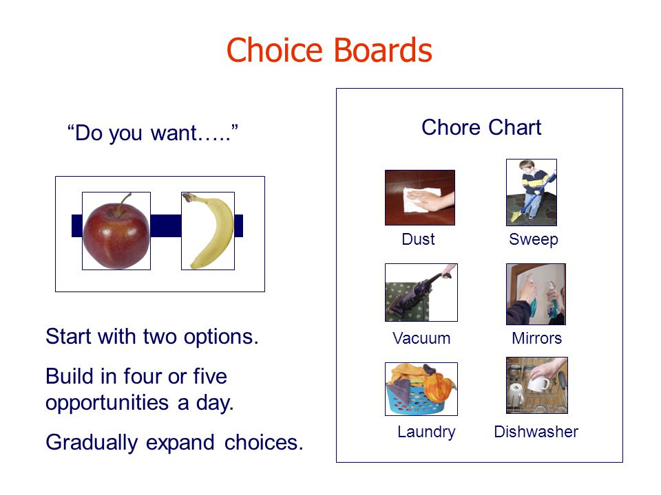 Choice Boards Chore Chart Do you want….. Start with two options.