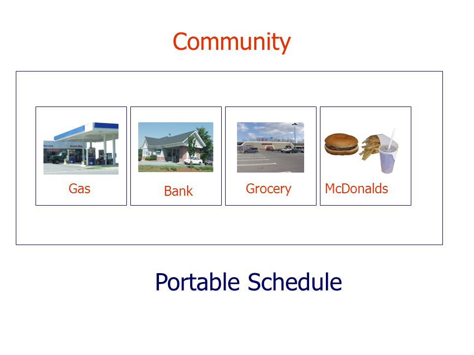 Community Gas Bank Grocery McDonalds Portable Schedule