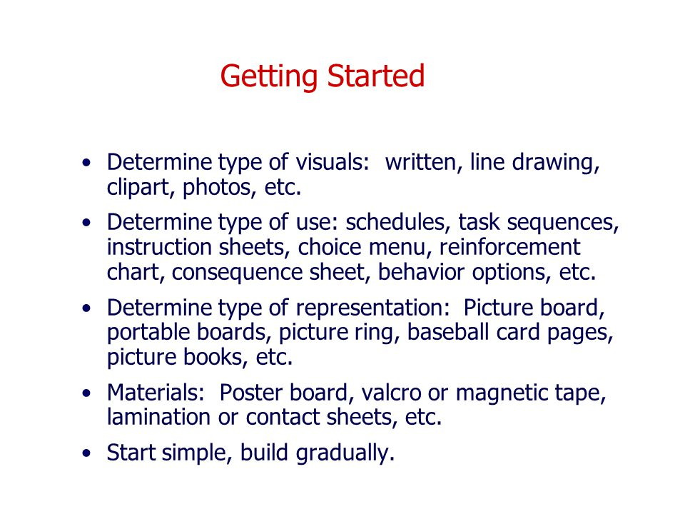 Getting Started Determine type of visuals: written, line drawing, clipart, photos, etc.