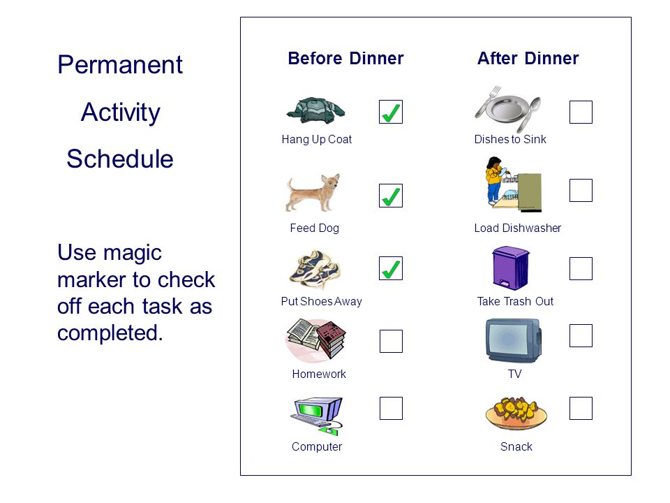 Permanent Activity Schedule Before Dinner After Dinner