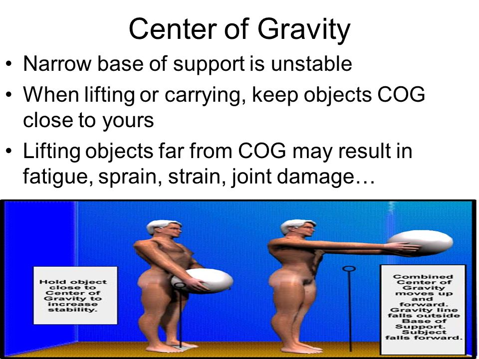 Center of Gravity Narrow base of support is unstable