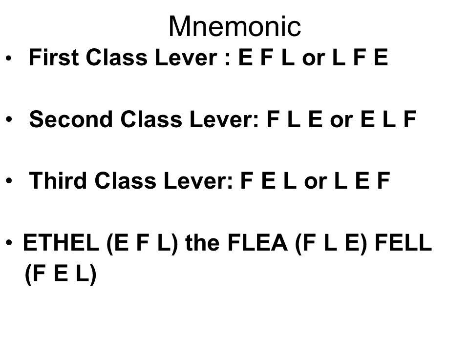 Mnemonic Second Class Lever: F L E or E L F