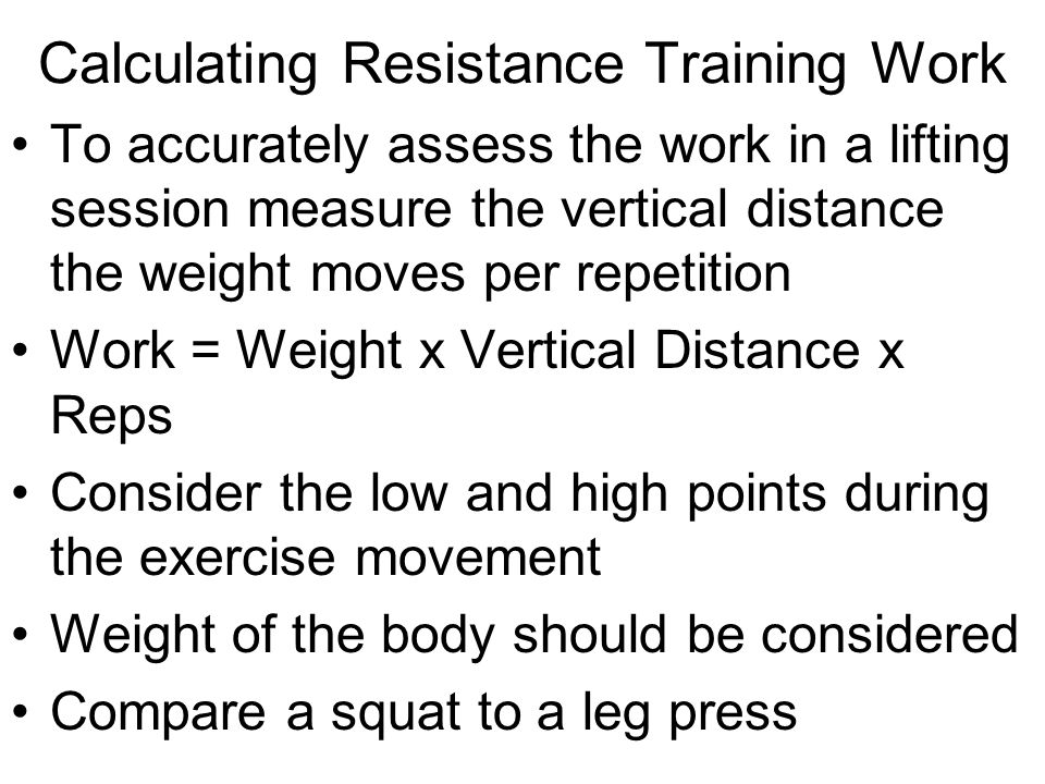 Calculating Resistance Training Work