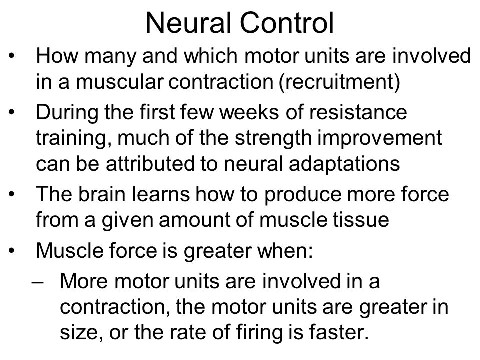 Neural Control How many and which motor units are involved in a muscular contraction (recruitment)