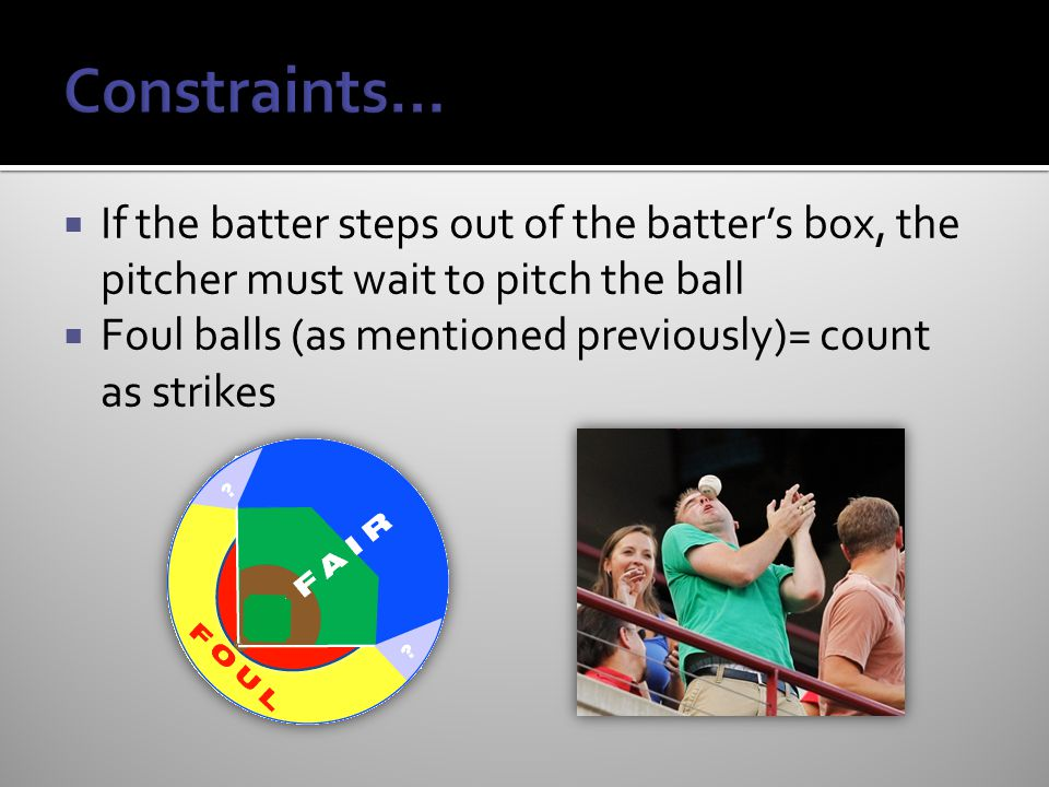 Constraints… If the batter steps out of the batter's box, the pitcher must wait to pitch the ball.
