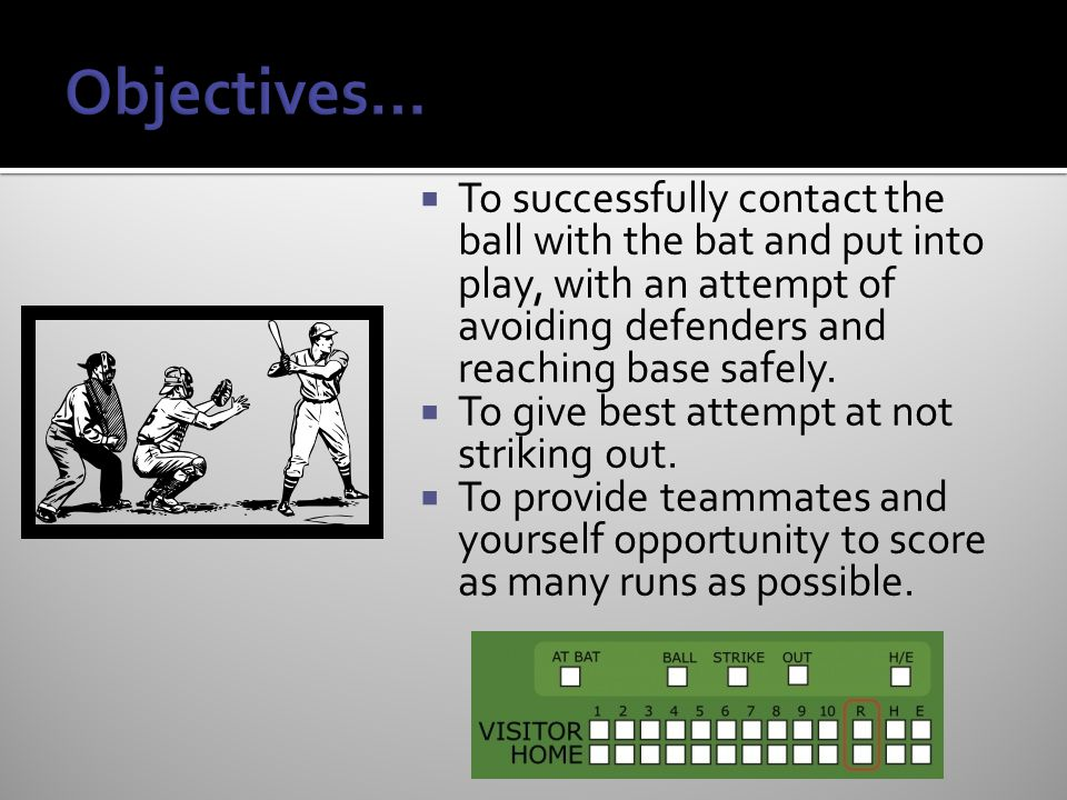 Objectives… To successfully contact the ball with the bat and put into play, with an attempt of avoiding defenders and reaching base safely.