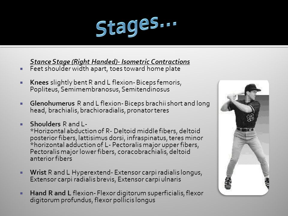 Stages… Stance Stage (Right Handed)- Isometric Contractions