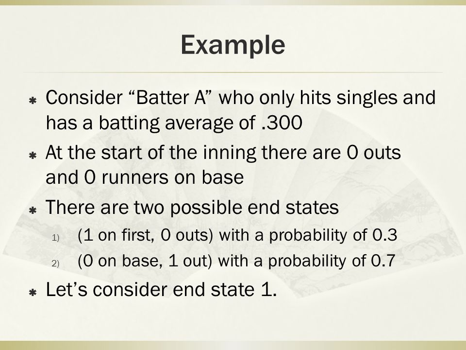 Example Consider Batter A who only hits singles and has a batting average of .300.