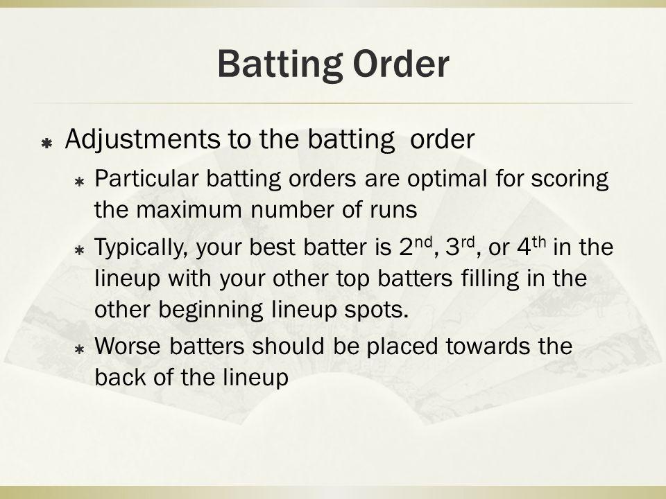 Batting Order Adjustments to the batting order