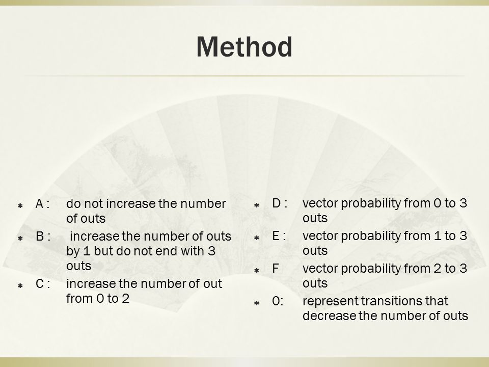 Method A : do not increase the number of outs