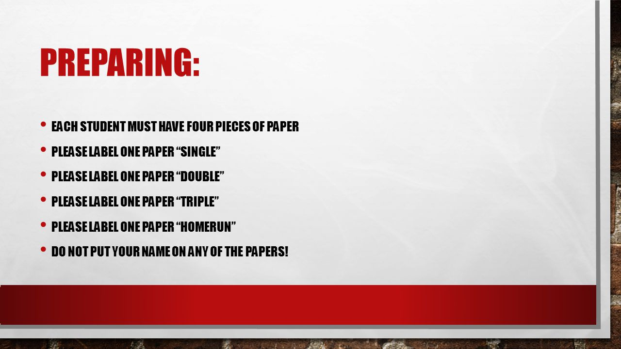 preparing: Each student must have four pieces of paper