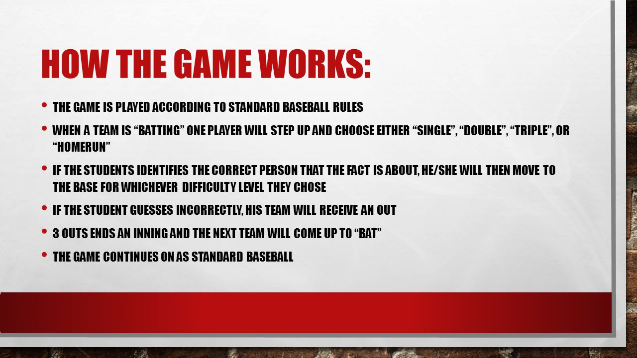 How the game works: The game is played according to standard baseball rules.