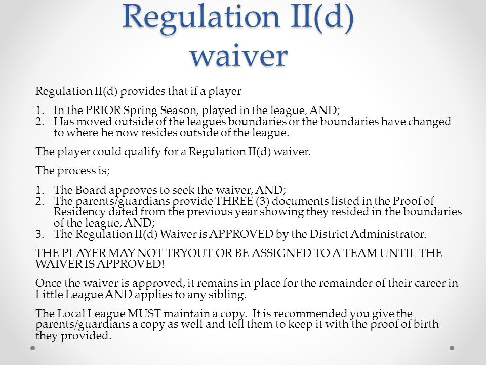 Regulation II(d) waiver