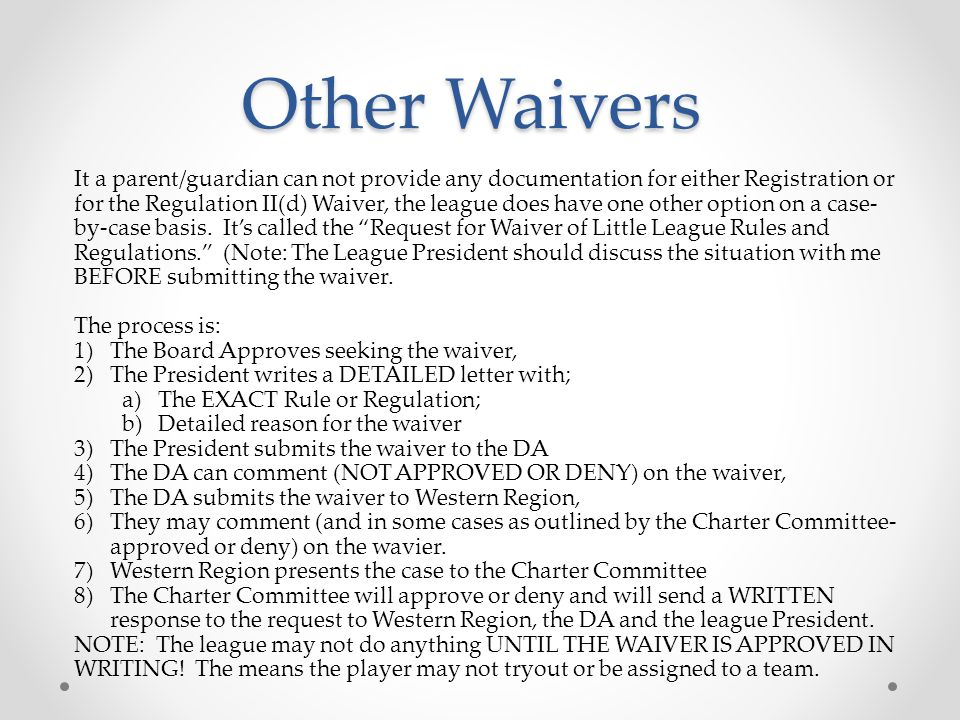 Other Waivers