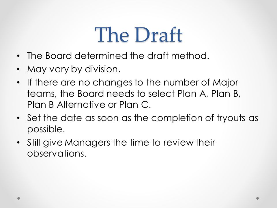 The Draft The Board determined the draft method. May vary by division.