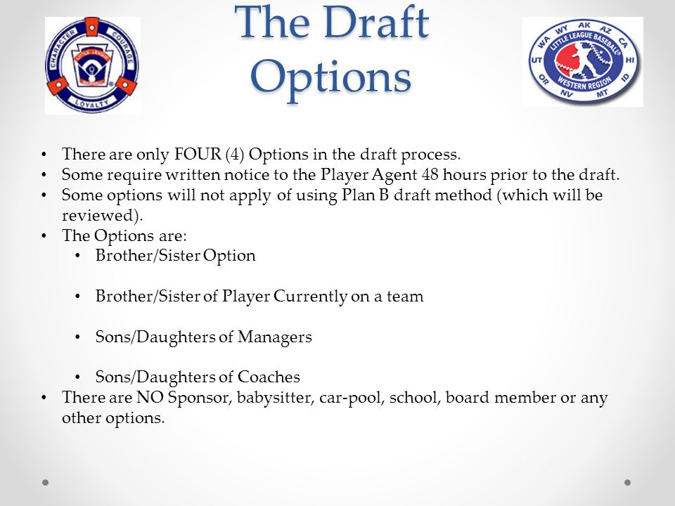 The Draft Options There are only FOUR (4) Options in the draft process. Some require written notice to the Player Agent 48 hours prior to the draft.