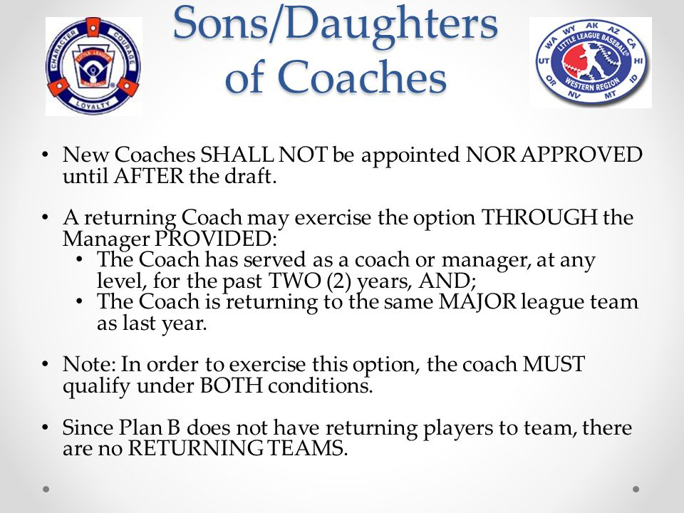 Sons/Daughters of Coaches