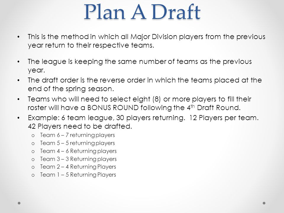 Plan A Draft This is the method in which all Major Division players from the previous year return to their respective teams.