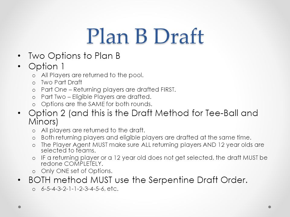 Plan B Draft Two Options to Plan B Option 1