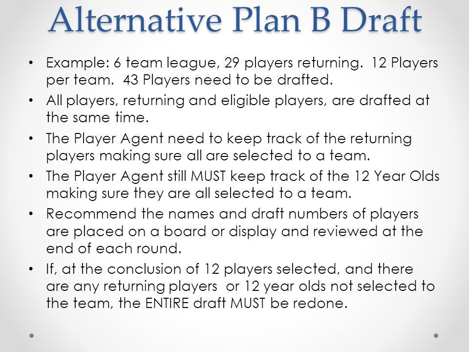 Alternative Plan B Draft