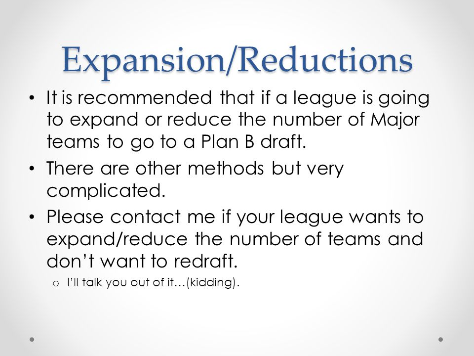 Expansion/Reductions