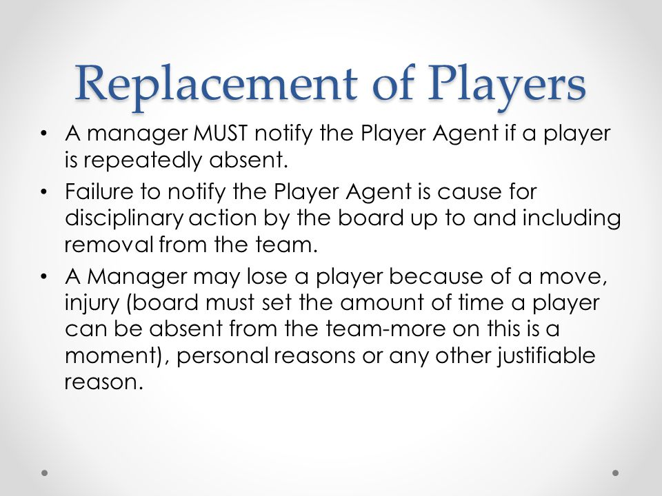 Replacement of Players